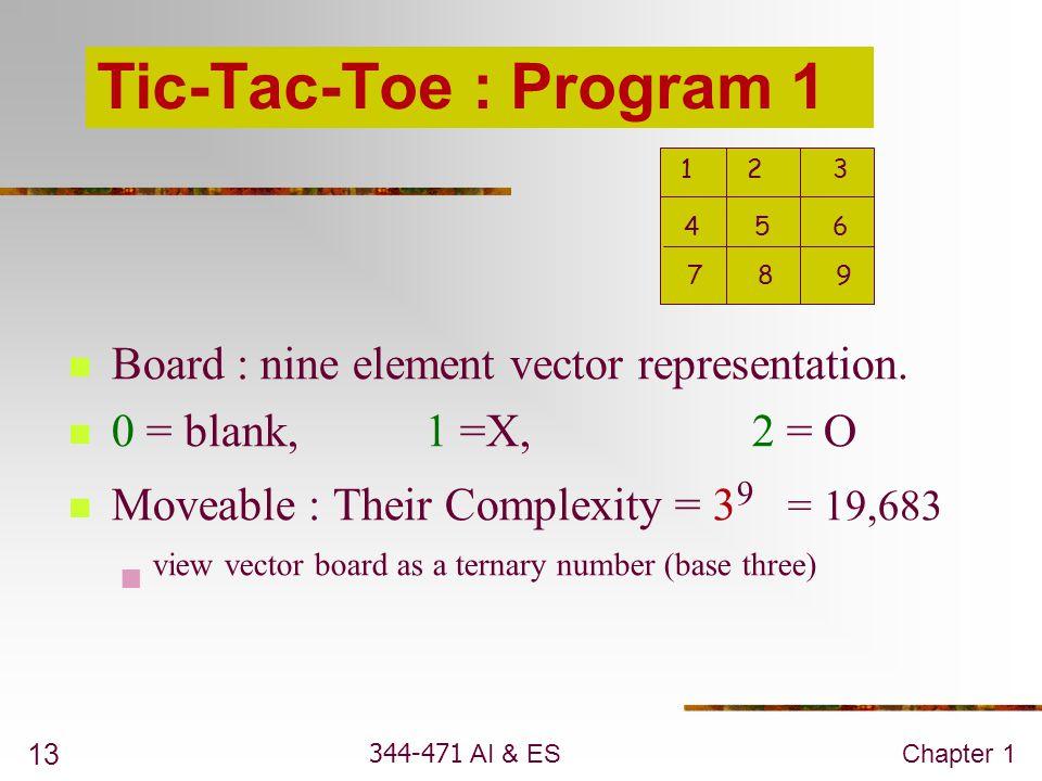 344-471 AI & ESChapter 1 13 Tic-Tac-Toe : Program 1 Board : nine element vector representation. 0 = blank, 1 =X, 2 = O Moveable : Their Complexity = 3