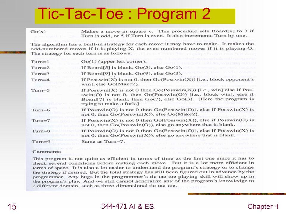 344-471 AI & ESChapter 1 15 Tic-Tac-Toe : Program 2