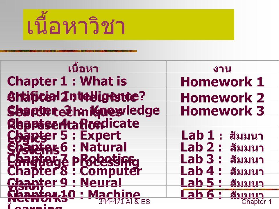344-471 AI & ESChapter 1 3 เนื้อหาวิชา เนื้อหางาน Chapter 1 : What is Artificial Intelligence.