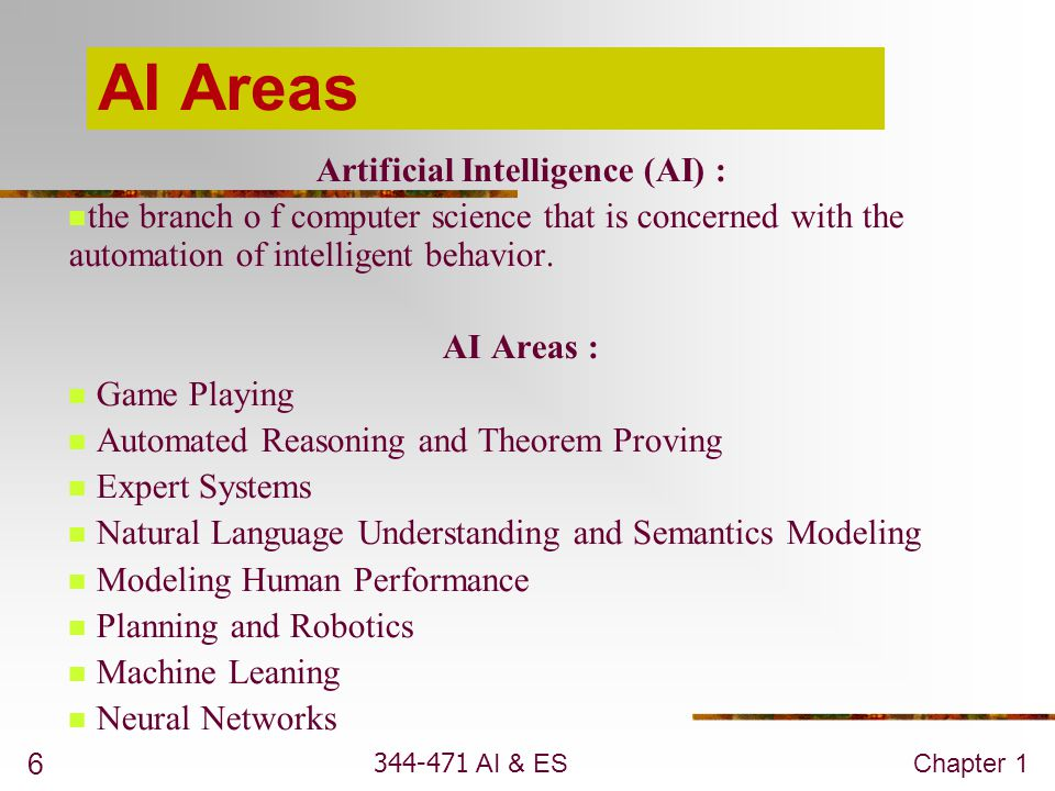 344-471 AI & ESChapter 1 27 Criteria for success How will we know if we have succeeded.