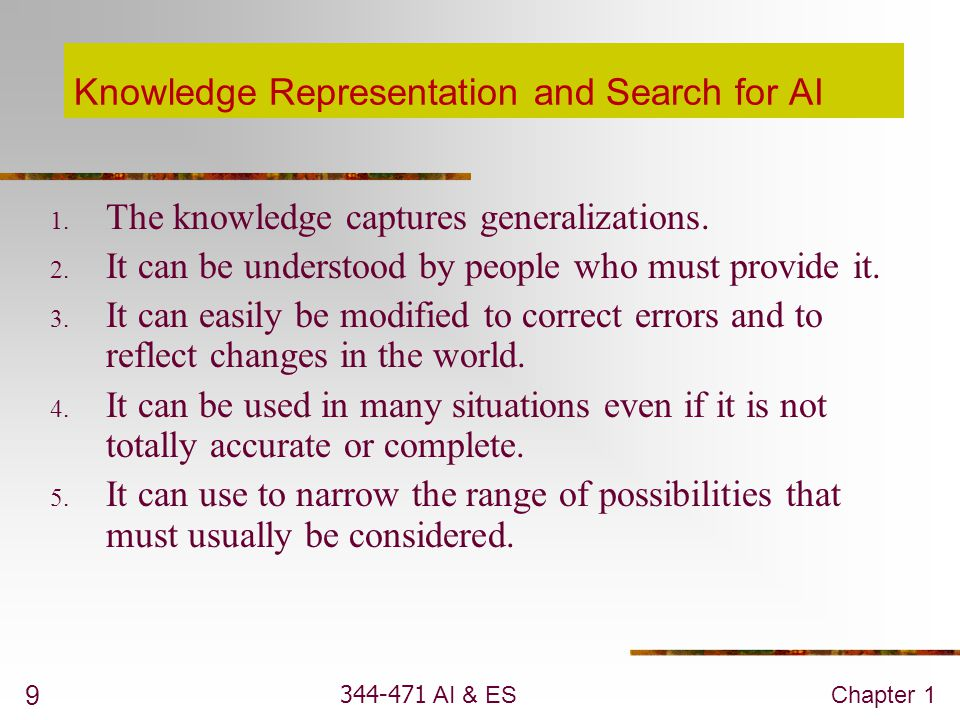 344-471 AI & ESChapter 1 10 Common Features of AI Problems 1.
