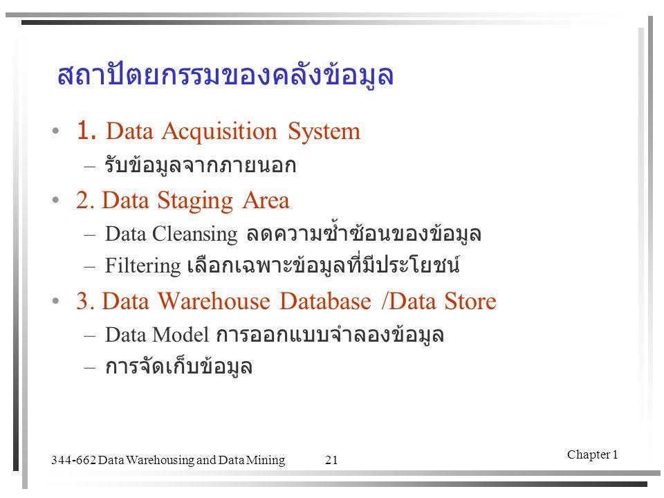 344-662 Data Warehousing and Data Mining Chapter 1 21 สถาปัตยกรรมของคลังข้อมูล 1. Data Acquisition System – รับข้อมูลจากภายนอก 2. Data Staging Area –D
