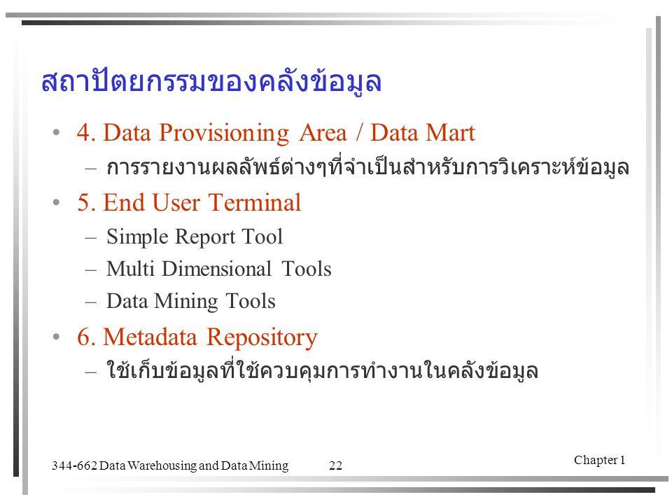 344-662 Data Warehousing and Data Mining Chapter 1 22 สถาปัตยกรรมของคลังข้อมูล 4. Data Provisioning Area / Data Mart – การรายงานผลลัพธ์ต่างๆที่จำเป็นส