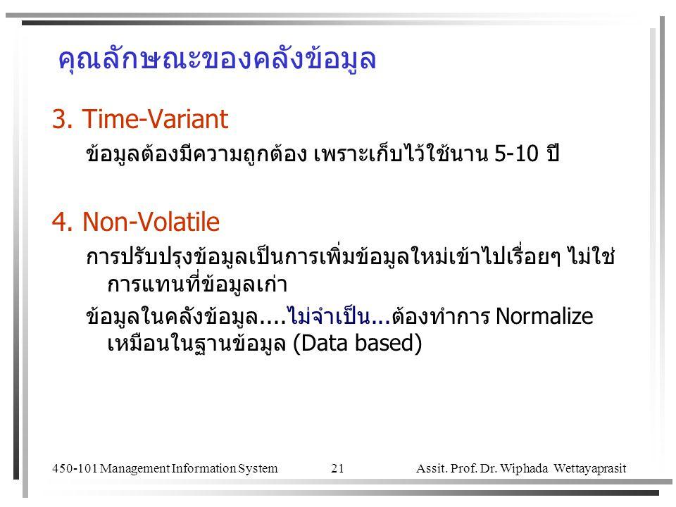 450-101 Management Information System Assit. Prof. Dr. Wiphada Wettayaprasit 21 คุณลักษณะของคลังข้อมูล 3. Time-Variant ข้อมูลต้องมีความถูกต้อง เพราะเก