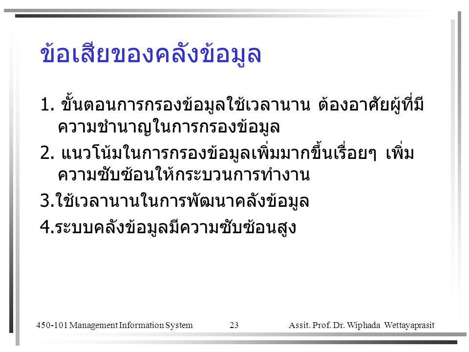 450-101 Management Information System Assit. Prof. Dr. Wiphada Wettayaprasit 23 ข้อเสียของคลังข้อมูล 1. ขั้นตอนการกรองข้อมูลใช้เวลานาน ต้องอาศัยผู้ที่