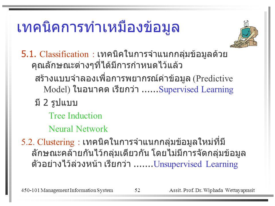 450-101 Management Information System Assit. Prof. Dr. Wiphada Wettayaprasit 52 เทคนิคการทำเหมืองข้อมูล 5.1. Classification : เทคนิคในการจำแนกกลุ่มข้อ