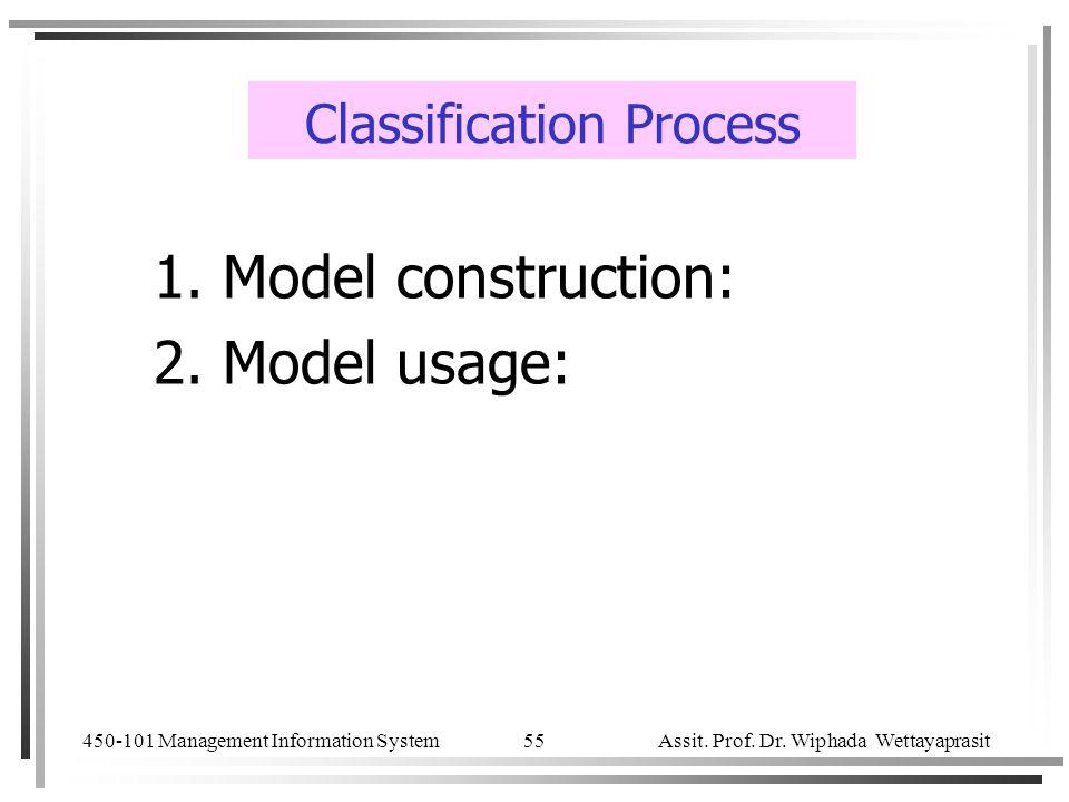 450-101 Management Information System Assit. Prof. Dr. Wiphada Wettayaprasit 55 Classification Process 1. Model construction: 2. Model usage: