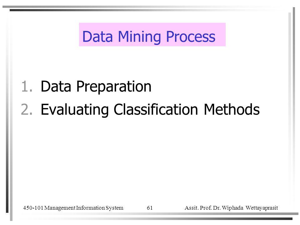 450-101 Management Information System Assit. Prof. Dr. Wiphada Wettayaprasit 61 Data Mining Process 1.Data Preparation 2.Evaluating Classification Met