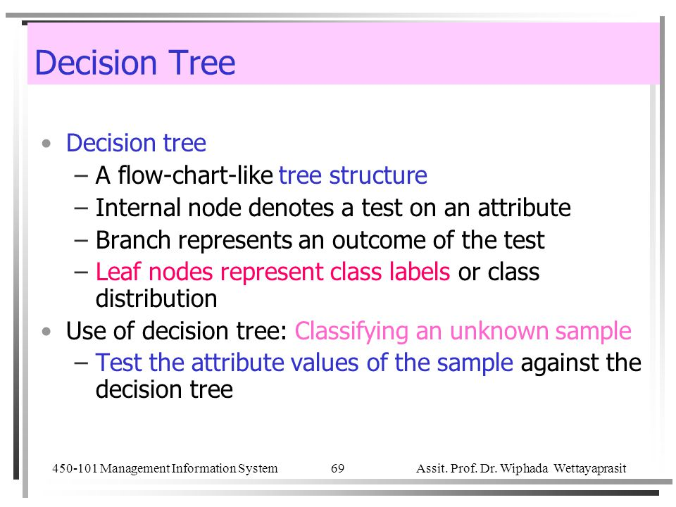 450-101 Management Information System Assit. Prof. Dr. Wiphada Wettayaprasit 69 Decision Tree Decision tree –A flow-chart-like tree structure –Interna