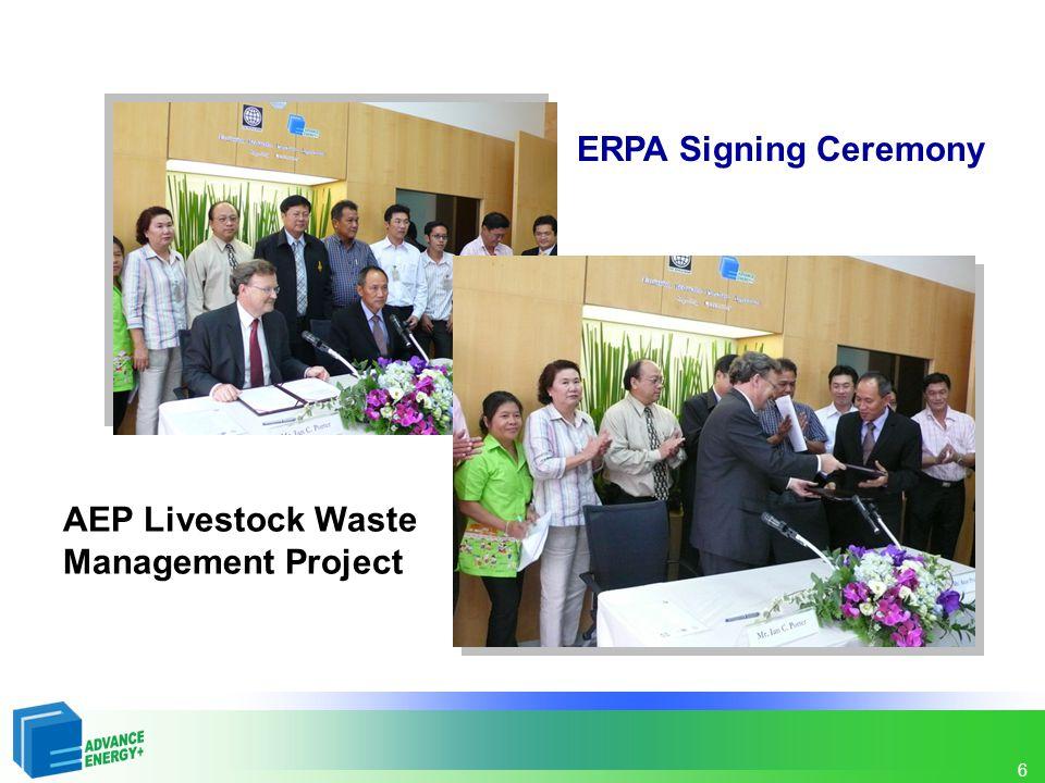 7 AEP Livestock Waste Management Project วัตถุประสงค์ (1) เพื่อลดการปล่อยก๊าซเรือนกระจกที่เกิดจากของเสียในฟาร์ม ปศุสัตว์ (2) เพื่อพัฒนาไปสู่การพัฒนาที่ยั่งยืนและยกระดับมาตรฐานการ จัดการของเสียในฟาร์มปศุสัตว์ของประเทศไทย โดยผ่านการ สนับสนุนด้วยกลไกการพัฒนาที่สะอาด (CDM)