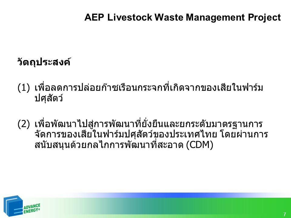 7 AEP Livestock Waste Management Project วัตถุประสงค์ (1) เพื่อลดการปล่อยก๊าซเรือนกระจกที่เกิดจากของเสียในฟาร์ม ปศุสัตว์ (2) เพื่อพัฒนาไปสู่การพัฒนาที