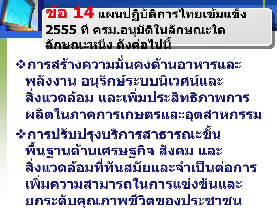 ข้อ 14 แผนปฏิบัติการไทยเข้มแข็ง 2555 ที่ ครม. อนุมัติในลักษณะใด ลักษณะหนึ่ง ดังต่อไปนี้  การสร้างความมั่นคงด้านอาหารและ พลังงาน อนุรักษ์ระบบนิเวศน์แล