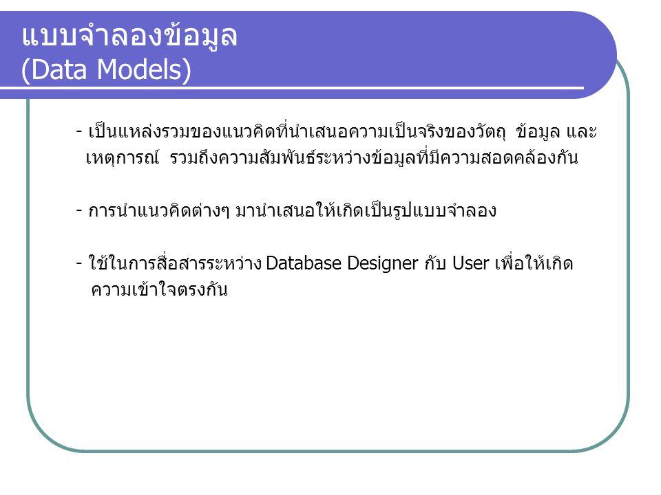 แบบจำลองฐานข้อมูล : มัลติไดเมนชั่น (Multidimension Database Model) - พัฒนาจากแบบเชิงสัมพันธ์ - Row & Column จะมีลักษณะเป็นลูกบาศก์ (Data Cube) - สามารถมองข้อมูลได้ 2 ทาง เพื่อให้เห็นปัญหาและสร้างวิธีแก้ได้ดี - ใช้แบบจำลอง Star Schema ในการออกแบบ - มี Fact Table เก็บ fields ทั้งหมดที่จะวัด - มีตาราง Dimension สำหรับ Join กับ Fact Table - ถูกนำไปใช้งานกับคลังข้อมูล (Data Warehousing) - ใช้การเข้าถึงข้อมูลโดยระบบ OLAP * OLAP : OnLine Analytical Processing (ระบบประมวลผลเชิงวิเคราะห์แบบต่อตรง)