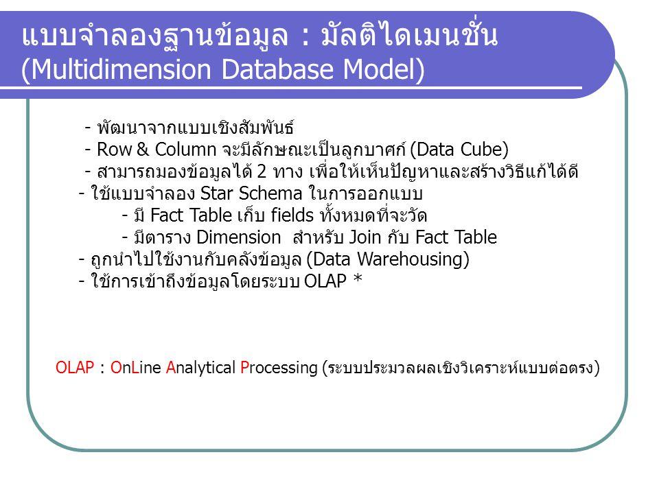 แบบจำลองฐานข้อมูล : มัลติไดเมนชั่น (Multidimension Database Model) - พัฒนาจากแบบเชิงสัมพันธ์ - Row & Column จะมีลักษณะเป็นลูกบาศก์ (Data Cube) - สามาร