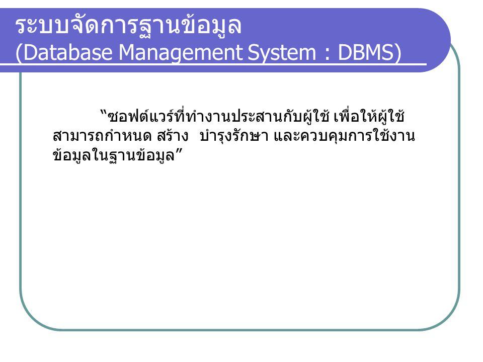 """ระบบจัดการฐานข้อมูล (Database Management System : DBMS) """"ซอฟต์แวร์ที่ทำงานประสานกับผู้ใช้ เพื่อให้ผู้ใช้ สามารถกำหนด สร้าง บำรุงรักษา และควบคุมการใช้ง"""