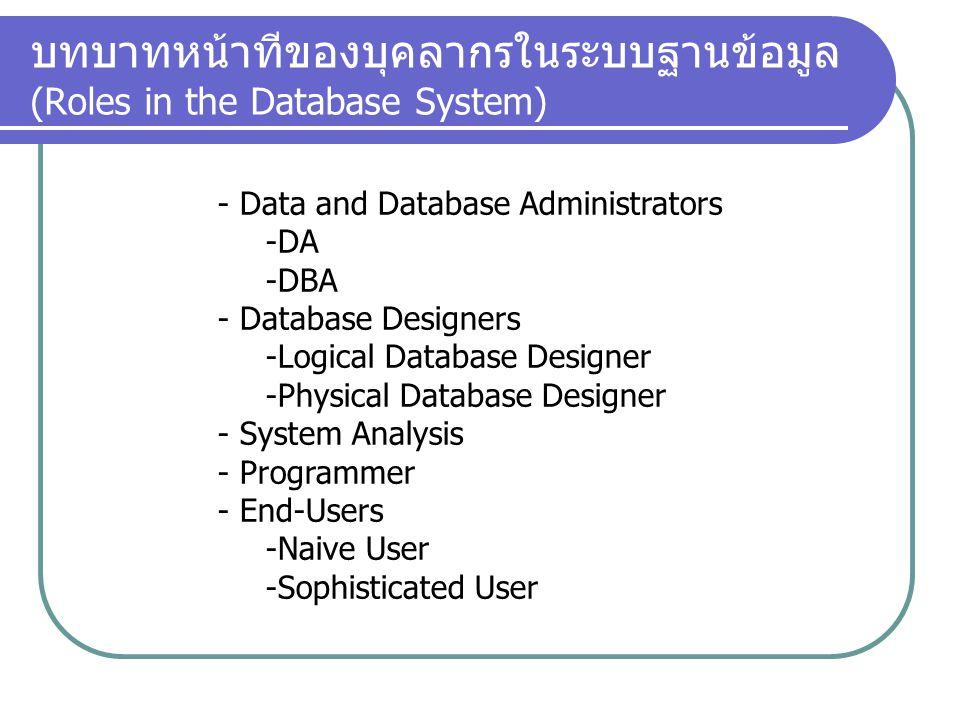 บทบาทหน้าทีของบุคลากรในระบบฐานข้อมูล (Roles in the Database System) - Data and Database Administrators -DA -DBA - Database Designers -Logical Database