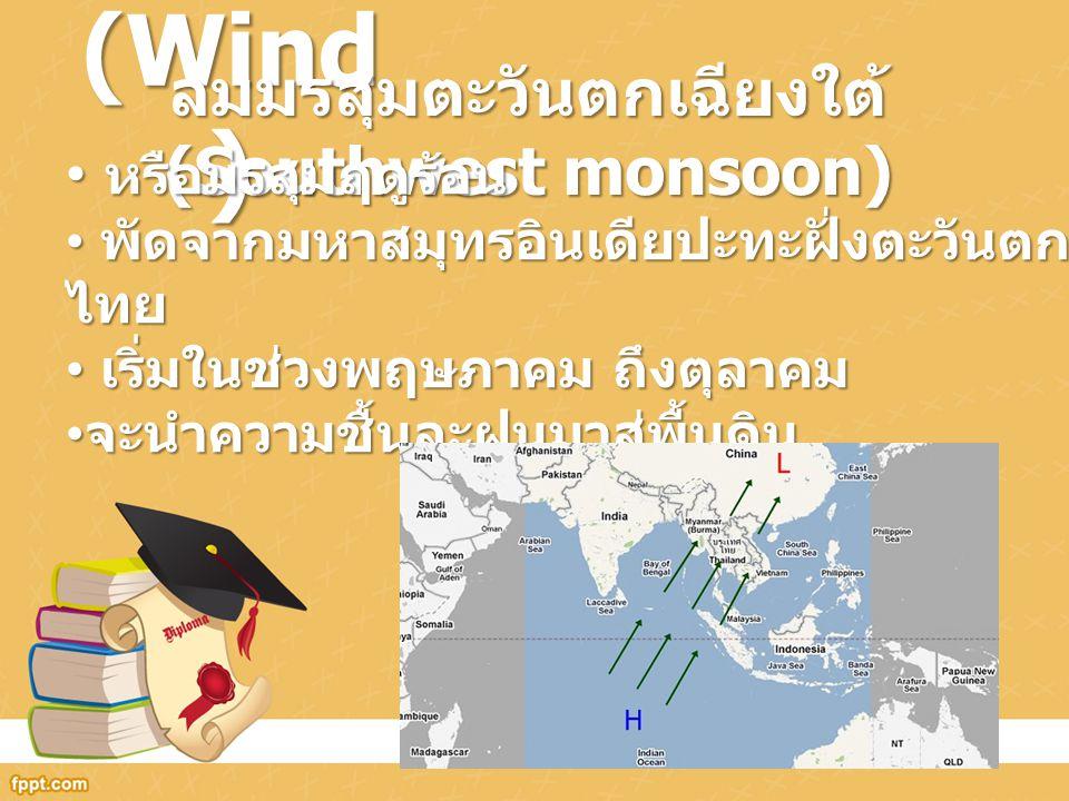 ลม (Wind ) ลมมรสุมตะวันตกเฉียงใต้ (Southwest monsoon) หรือมรสุมฤดูร้อน หรือมรสุมฤดูร้อน พัดจากมหาสมุทรอินเดียปะทะฝั่งตะวันตกของประเทศ ไทย พัดจากมหาสมุ