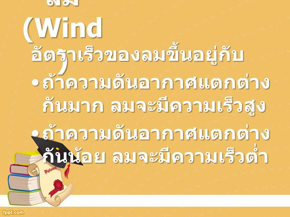 ลม (Wind ) อัตราเร็วของลมขึ้นอยู่กับ ถ้าความดันอากาศแตกต่าง กันมาก ลมจะมีความเร็วสูง ถ้าความดันอากาศแตกต่าง กันมาก ลมจะมีความเร็วสูง ถ้าความดันอากาศแต