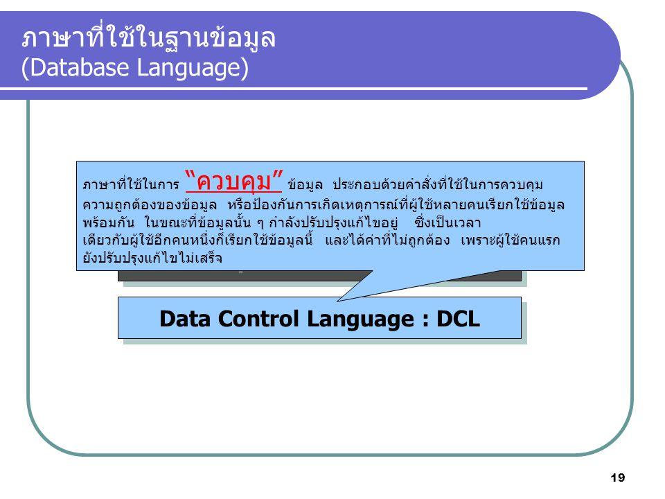 ภาษาที่ใช้ในฐานข้อมูล (Database Language) Data Definition Language : DDL Data Manipulation Language : DML Data Control Language : DCL ภาษาที่ใช้ในการ