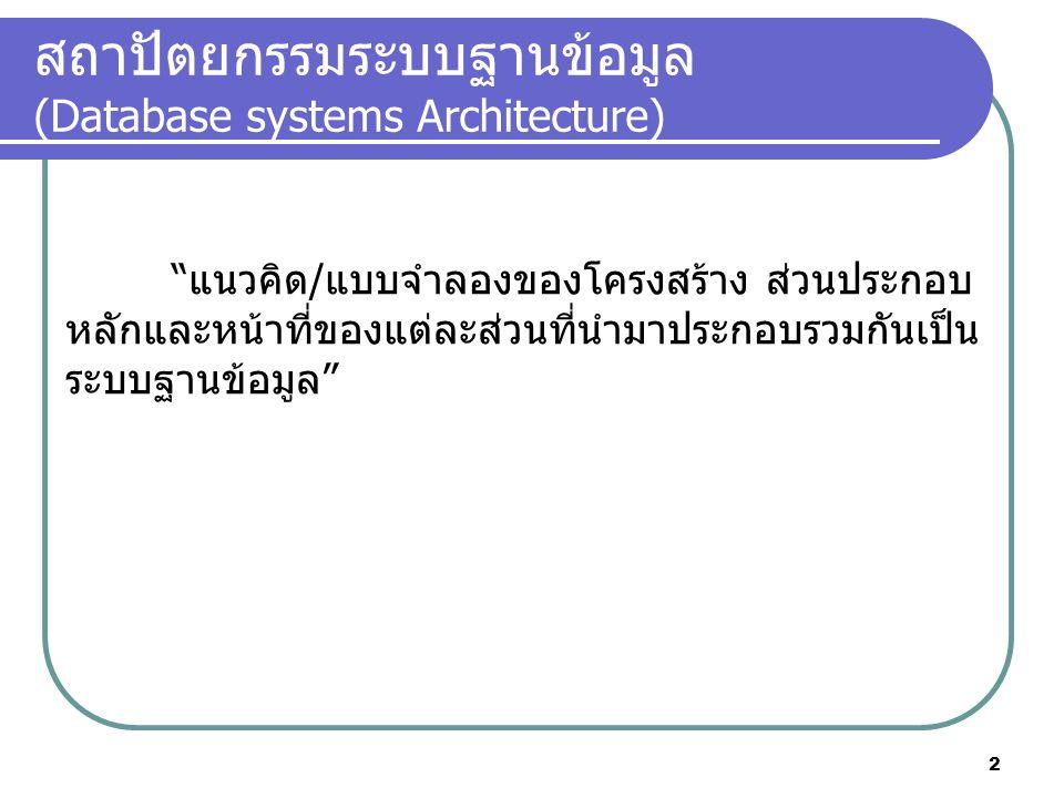 """สถาปัตยกรรมระบบฐานข้อมูล (Database systems Architecture) """"แนวคิด/แบบจำลองของโครงสร้าง ส่วนประกอบ หลักและหน้าที่ของแต่ละส่วนที่นำมาประกอบรวมกันเป็น ระบ"""