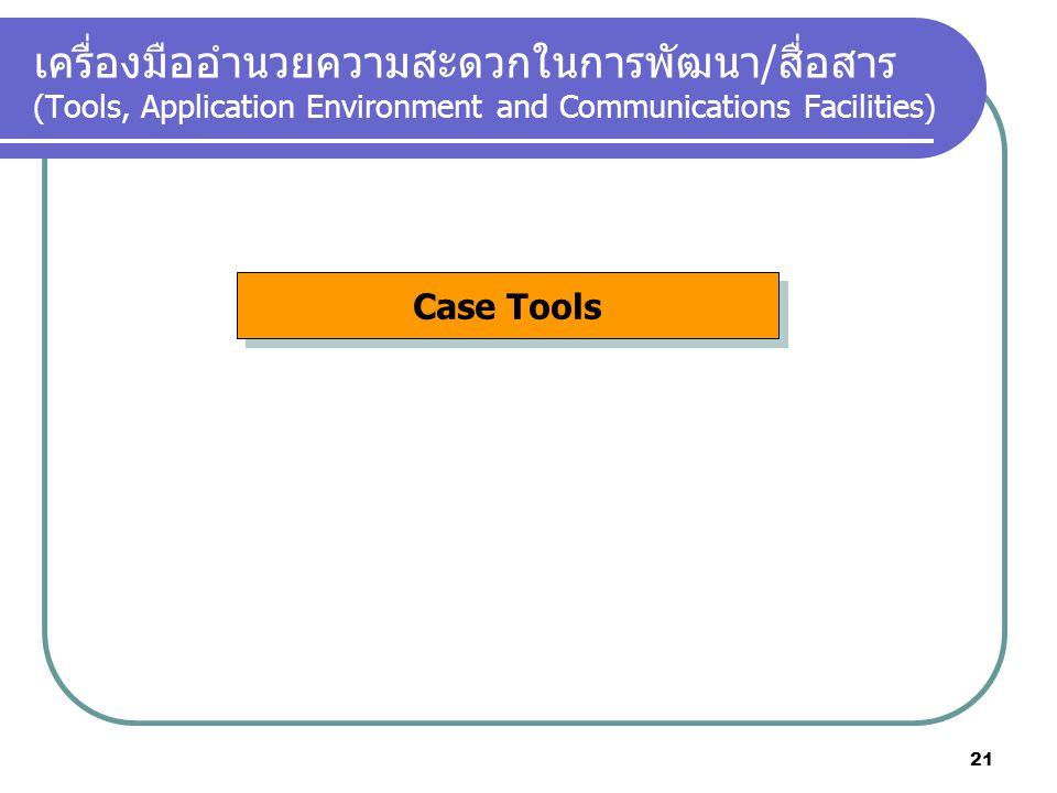 เครื่องมืออำนวยความสะดวกในการพัฒนา/สื่อสาร (Tools, Application Environment and Communications Facilities) Case Tools 21