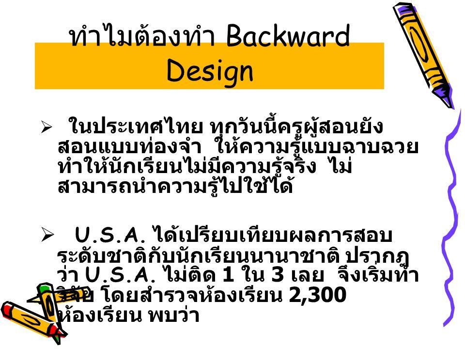 ทำไมต้องทำ Backward Design  ในประเทศไทย ทุกวันนี้ครูผู้สอนยัง สอนแบบท่องจำ ให้ความรู้แบบฉาบฉวย ทำให้นักเรียนไม่มีความรู้จริง ไม่ สามารถนำความรู้ไปใช้ได้  U.S.A.