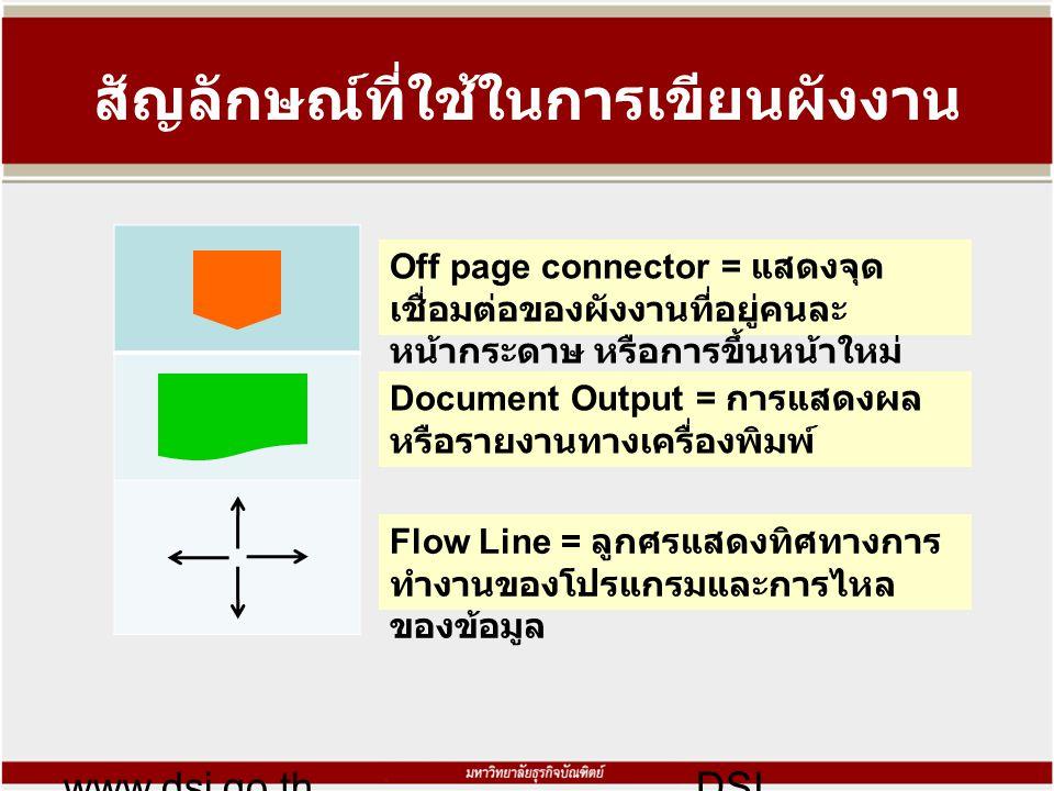 สัญลักษณ์ที่ใช้ในการเขียนผังงาน www.dsi.go.thDSI Off page connector = แสดงจุด เชื่อมต่อของผังงานที่อยู่คนละ หน้ากระดาษ หรือการขึ้นหน้าใหม่ Document Output = การแสดงผล หรือรายงานทางเครื่องพิมพ์ Flow Line = ลูกศรแสดงทิศทางการ ทำงานของโปรแกรมและการไหล ของข้อมูล