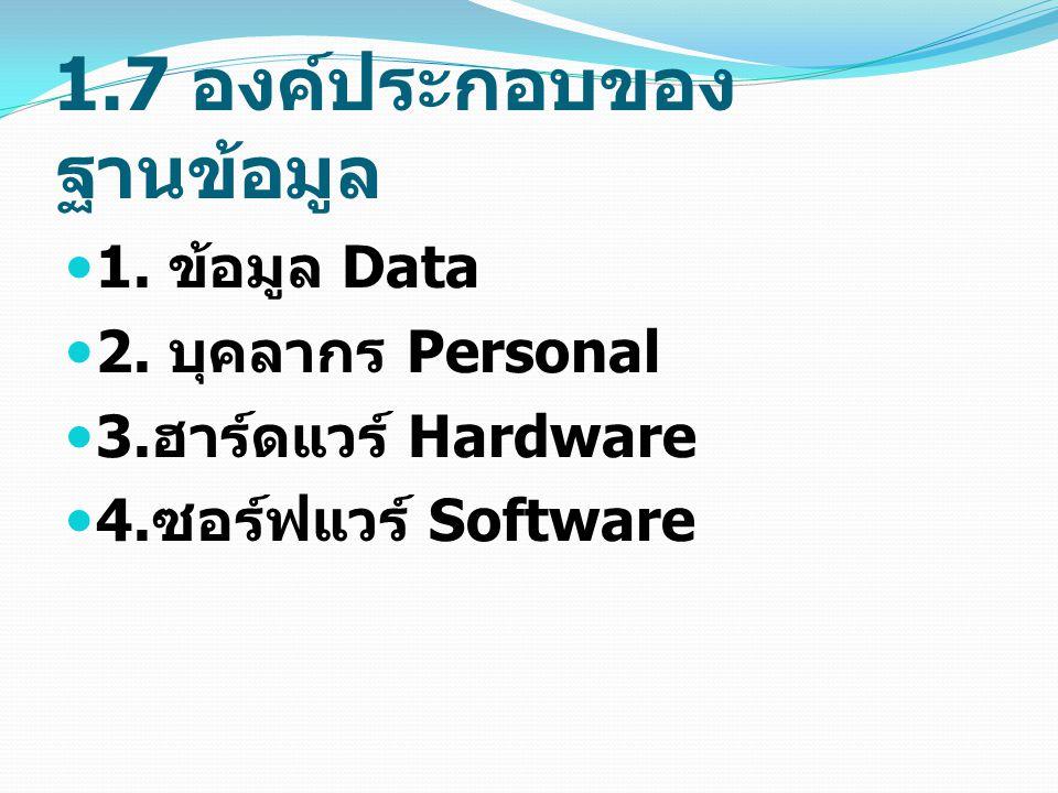 1.7 องค์ประกอบของ ฐานข้อมูล 1.ข้อมูล Data 2. บุคลากร Personal 3.