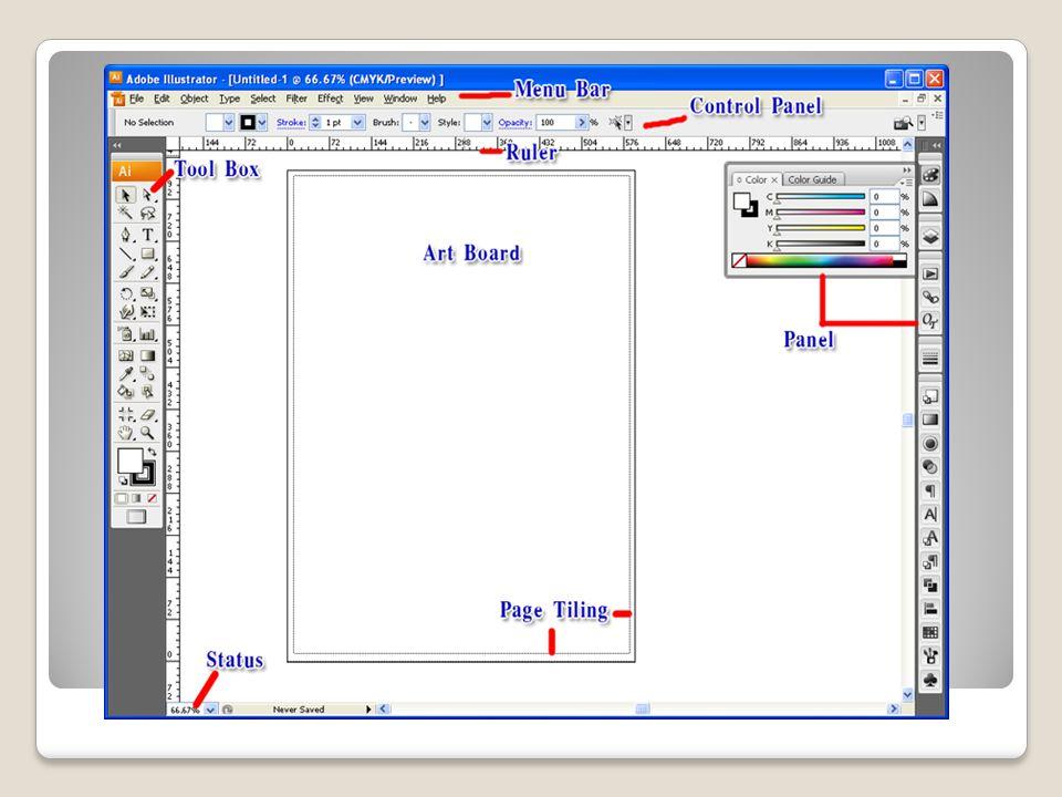 3.1 Menu Bar เป็นแถบคำสั่งทั้งหมดของโปรแกรม เช่น เปิด ปิด บันทึก หรือปรับแต่งรายละเอียดของ ชิ้นงานหรือโปรแกรม 3.2 Control Panel แถบกำหนดคุณสมบัติของ เครื่องมือที่เลือก ( เปลี่ยนไปตามเครื่องมือที่เลือก ) 3.3 Ruler ( ไม้บรรทัด ) สามารถให้แสดงหรือซ่อนโดย กดปุ่ม Ctrl+R หรือ เลือกที่ Menu Bar ที่ View / Show Ruler, Hide Ruler - สามารถเปลี่ยนหน่วยที่ต้องการวัดได้โดยคลิก ขวาที่ Ruler แล้วเลือกหน่วยที่ต้องการเป็น นิ้ว, มิลลิเมตร, เซนติเมตร หรือ Pixel เป็นต้น - เมื่อต้องการวัดระยะ สามารถคลิกที่สี่เหลี่ยมมุม บนซ้ายของหัว Ruler ทั้งแนวตั้งและแนวนอน แล้ว ลากมาวางจุดที่ต้องการวัด