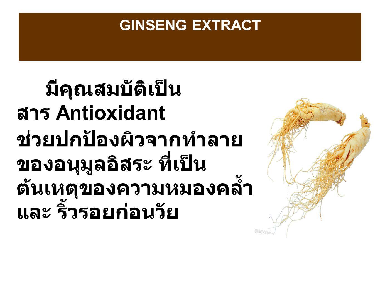 GINSENG EXTRACT มีคุณสมบัติเป็น สาร Antioxidant ช่วยปกป้องผิวจากทำลาย ของอนุมูลอิสระ ที่เป็น ต้นเหตุของความหมองคล้ำ และ ริ้วรอยก่อนวัย