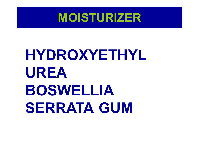 HYDROXYETHYL UREA สารให้ความชุ่มชื้นแก่ผิว ประสิทธิภาพสูง รักษาสมดุล ของน้ำในผิว ช่วยปกป้องผิว ให้แข็งแรง และบรรเทาอาการ อักเสบของผิวอย่างอ่อนโยน โดยไม่ก่อให้เกิดการระคาย เคือง