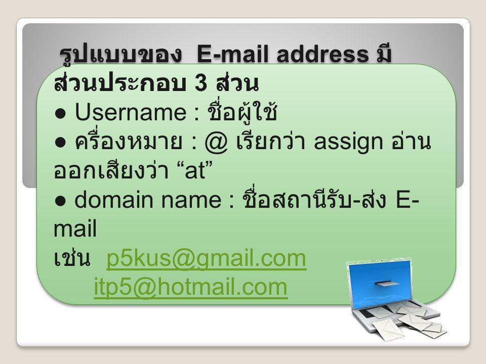 """รูปแบบของ E-mail address มี ส่วนประกอบ 3 ส่วน ● Username : ชื่อผู้ใช้ ● ครื่องหมาย : @ เรียกว่า assign อ่าน ออกเสียงว่า """"at"""" ● domain name : ชื่อสถานี"""