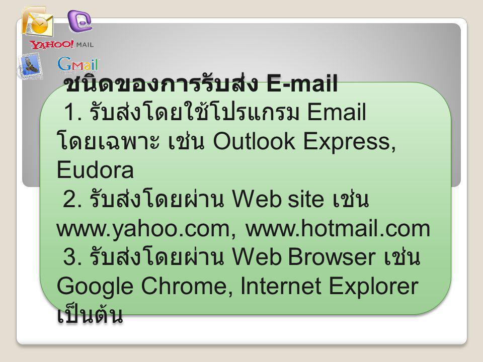 ชนิดของการรับส่ง E-mail 1. รับส่งโดยใช้โปรแกรม Email โดยเฉพาะ เช่น Outlook Express, Eudora 2. รับส่งโดยผ่าน Web site เช่น www.yahoo.com, www.hotmail.c