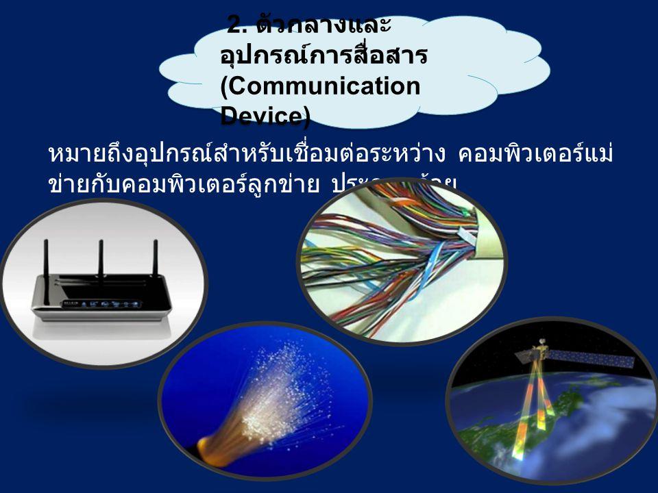 2. ตัวกลางและ อุปกรณ์การสื่อสาร (Communication Device) 2. ตัวกลางและ อุปกรณ์การสื่อสาร (Communication Device) หมายถึงอุปกรณ์สำหรับเชื่อมต่อระหว่าง คอม