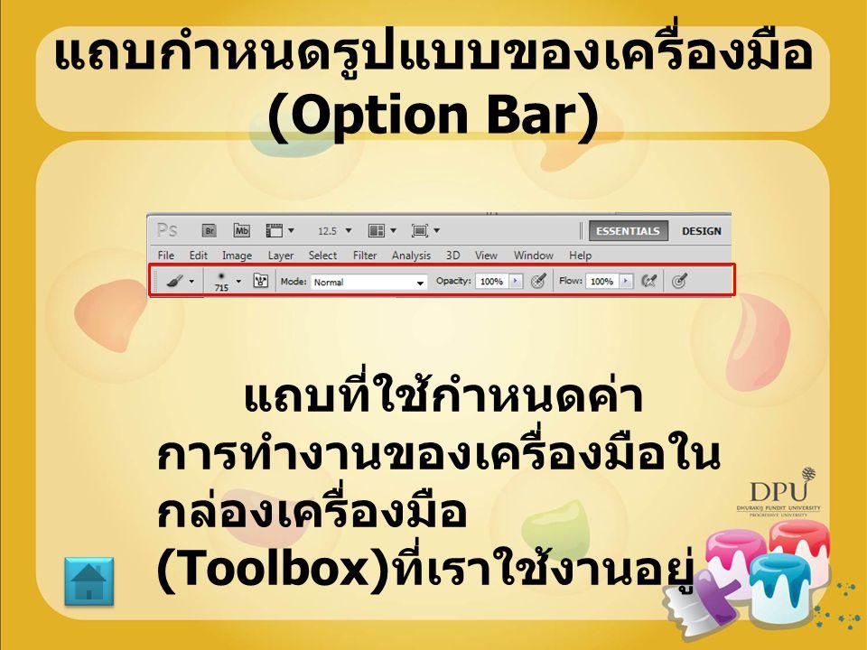 แถบกำหนดรูปแบบของเครื่องมือ (Option Bar) แถบที่ใช้กำหนดค่า การทำงานของเครื่องมือใน กล่องเครื่องมือ (Toolbox) ที่เราใช้งานอยู่