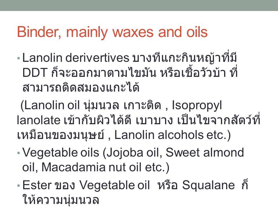 Binder, mainly waxes and oils Lanolin derivertives บางทีแกะกินหญ้าที่มี DDT ก็จะออกมาตามไขมัน หรือเชื้อวัวบ้า ที่ สามารถติดสมองแกะได้ (Lanolin oil นุ่