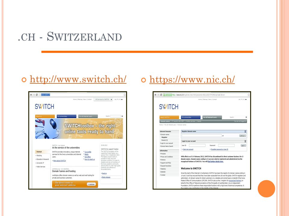 . CH - S WITZERLAND http://www.switch.ch/https://www.nic.ch/