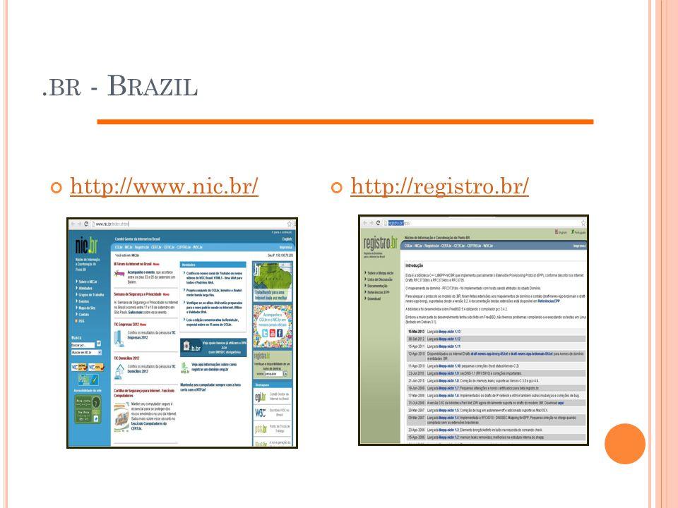 . BR - B RAZIL http://www.nic.br/http://registro.br/