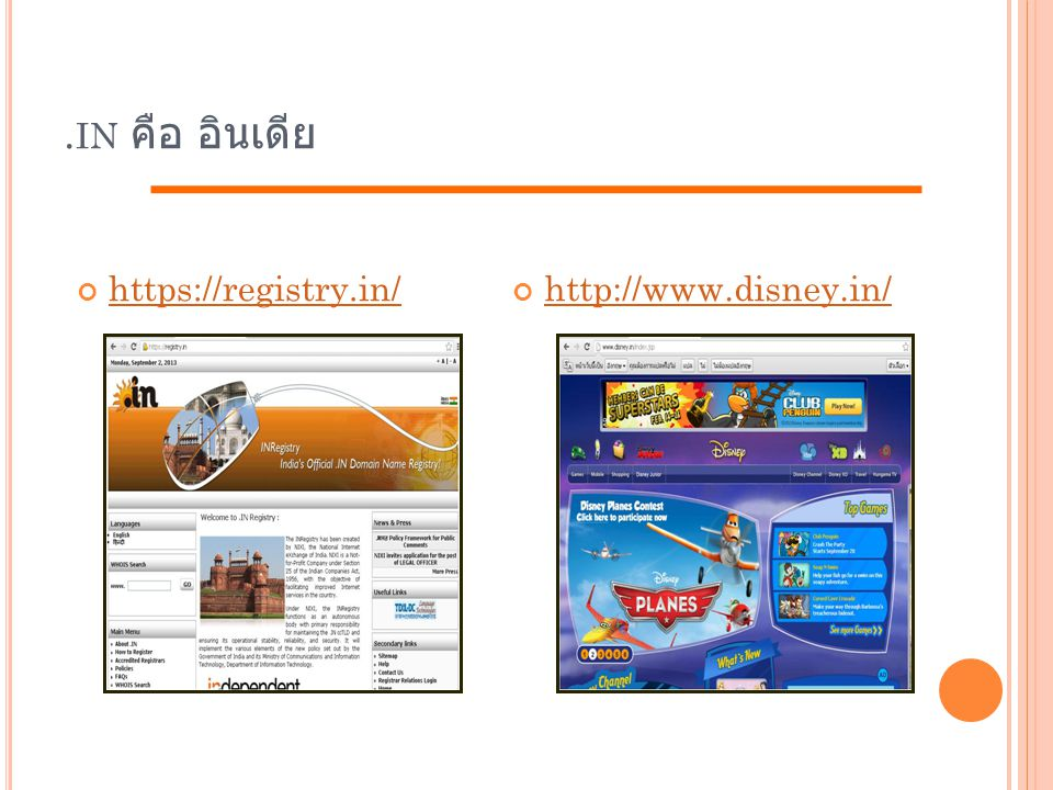 . IN คือ อินเดีย https://registry.in/http://www.disney.in/