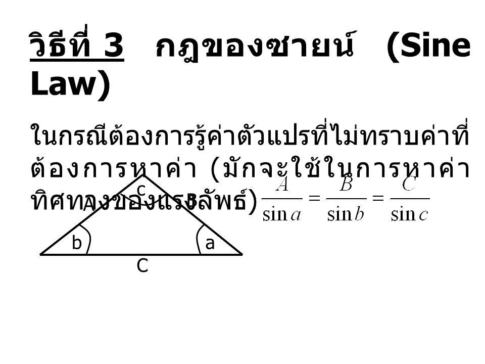 วิธีที่ 3 กฎของซายน์ (Sine Law) ในกรณีต้องการรู้ค่าตัวแปรที่ไม่ทราบค่าที่ ต้องการหาค่า ( มักจะใช้ในการหาค่า ทิศทางของแรงลัพธ์ ) A C B ab c