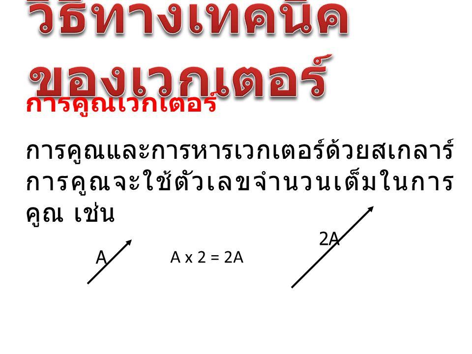 การคูณเวกเตอร์ การคูณและการหารเวกเตอร์ด้วยสเกลาร์ การคูณจะใช้ตัวเลขจำนวนเต็มในการ คูณ เช่น A A x 2 = 2A 2A