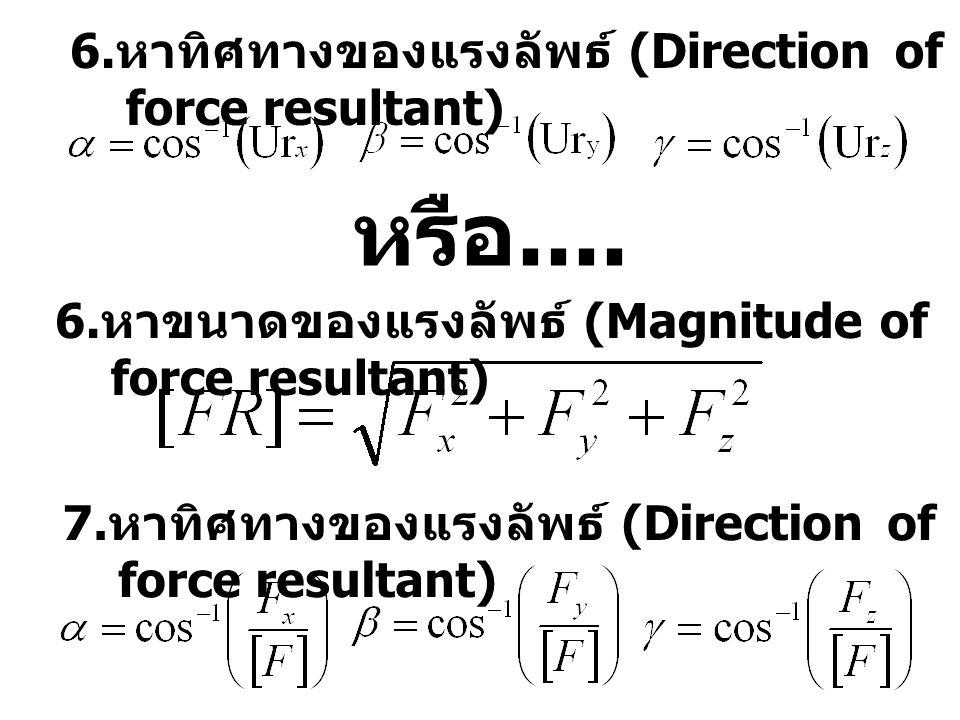 7. หาทิศทางของแรงลัพธ์ (Direction of force resultant) 6. หาขนาดของแรงลัพธ์ (Magnitude of force resultant) 6. หาทิศทางของแรงลัพธ์ (Direction of force r