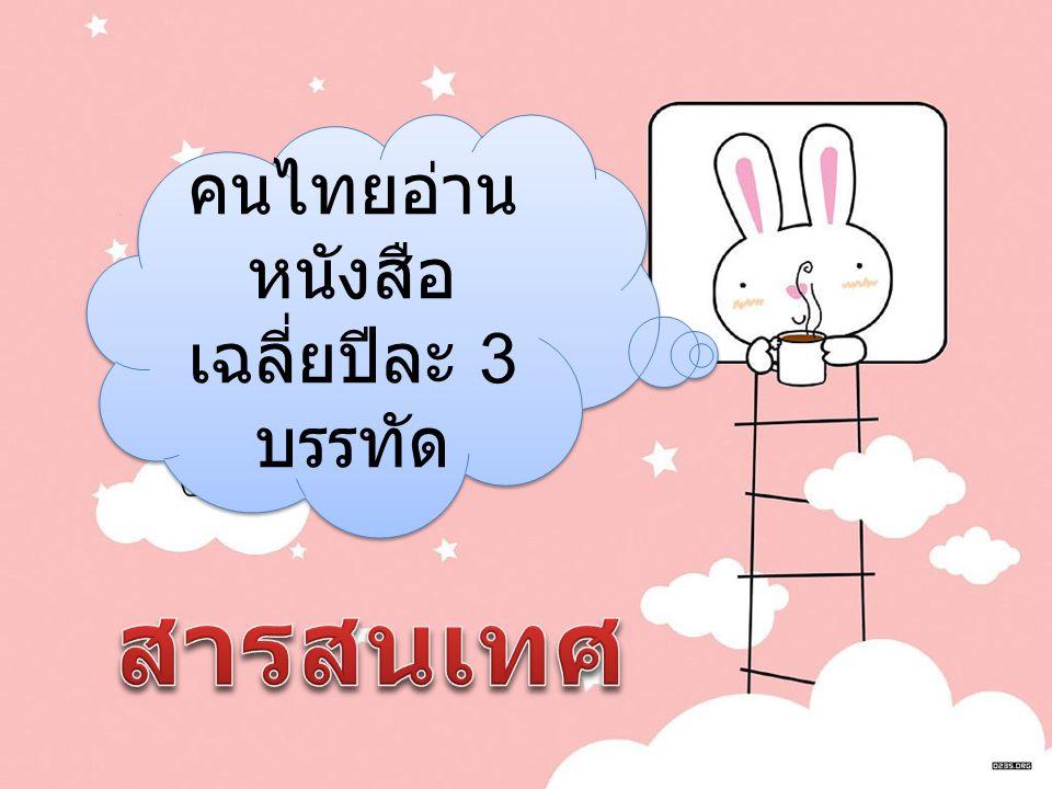 คนไทยอ่าน หนังสือ เฉลี่ยปีละ 3 บรรทัด