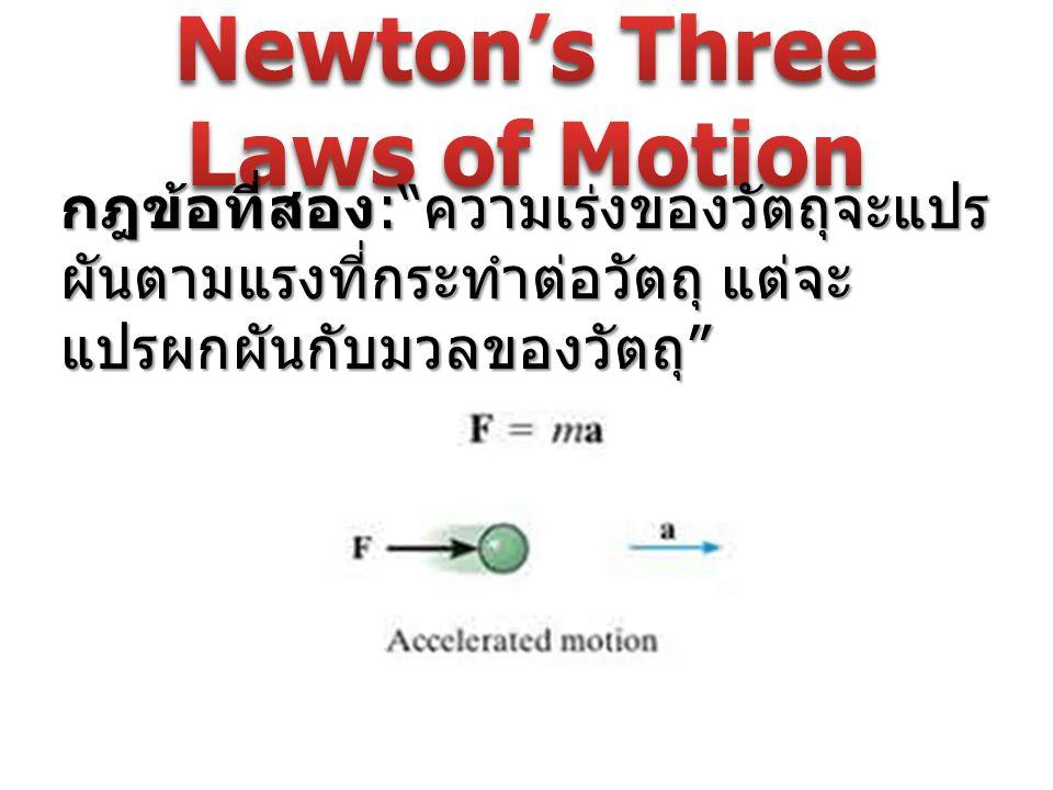 """กฎขอที่สอง :"""" ความเร่งของวัตถุจะแปร ผันตามแรงที่กระทำต่อวัตถุ แต่จะ แปรผกผันกับมวลของวัตถุ """""""