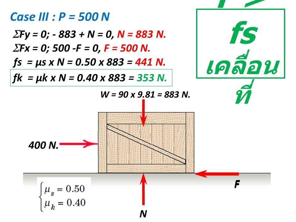 W = 90 x 9.81 = 883 N. N F Case III : P = 500 N  Fy = 0; - 883 + N = 0, N = 883 N.  Fx = 0; 500 -F = 0, F = 500 N. fs = µs x N = 0.50 x 883 = 441 N.