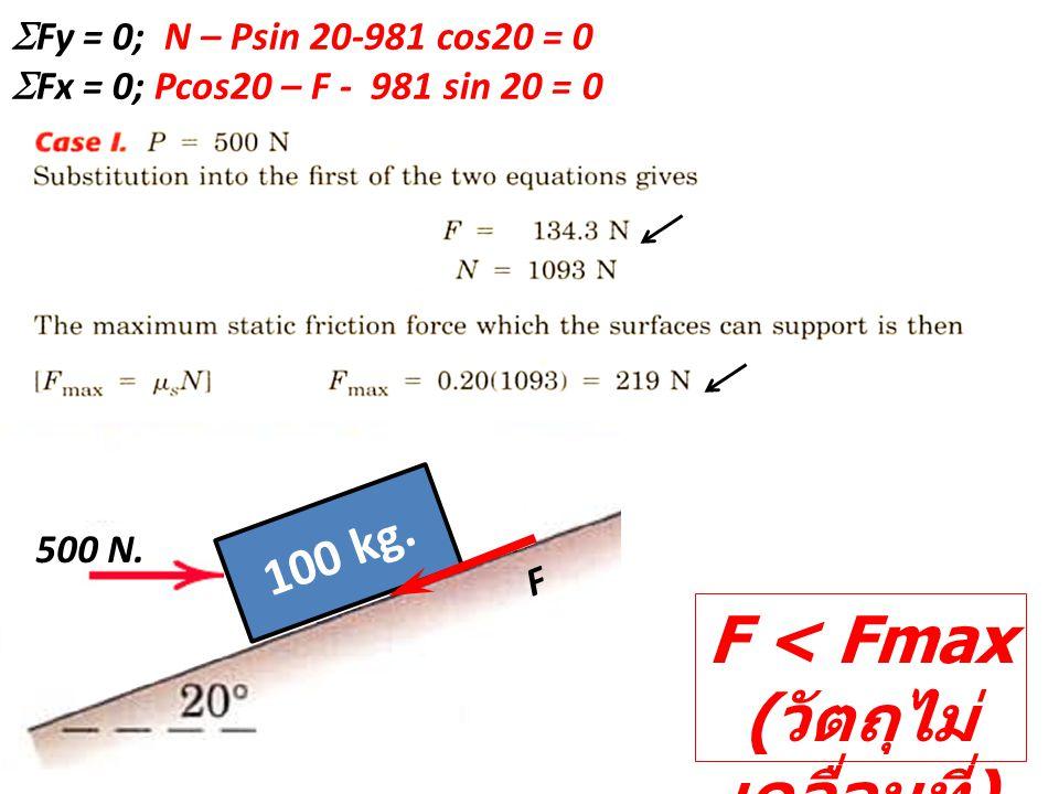 F < Fmax ( วัตถุไม่ เคลื่อนที่ ) 100 kg. 500 N.  Fy = 0; N – Psin 20-981 cos20 = 0  Fx = 0; Pcos20 – F - 981 sin 20 = 0 F