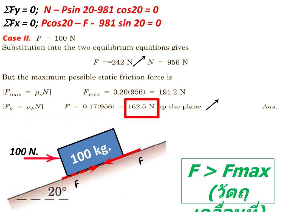 F > Fmax ( วัตถุ เคลื่อนที่ )  Fy = 0; N – Psin 20-981 cos20 = 0  Fx = 0; Pcos20 – F - 981 sin 20 = 0 100 kg. 100 N. F F
