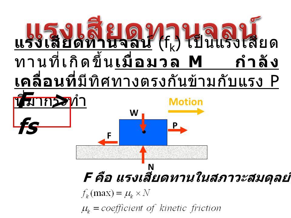 แรงเสียดทานจลน์ (f k ) เป็นแรงเสียด ทานที่เกิดขึ้นเมื่อมวล M กำลัง เคลื่อนที่มีทิศทางตรงกันข้ามกับแรง P ที่มากระทำ N F P W Motion F คือ แรงเสียดทานในส
