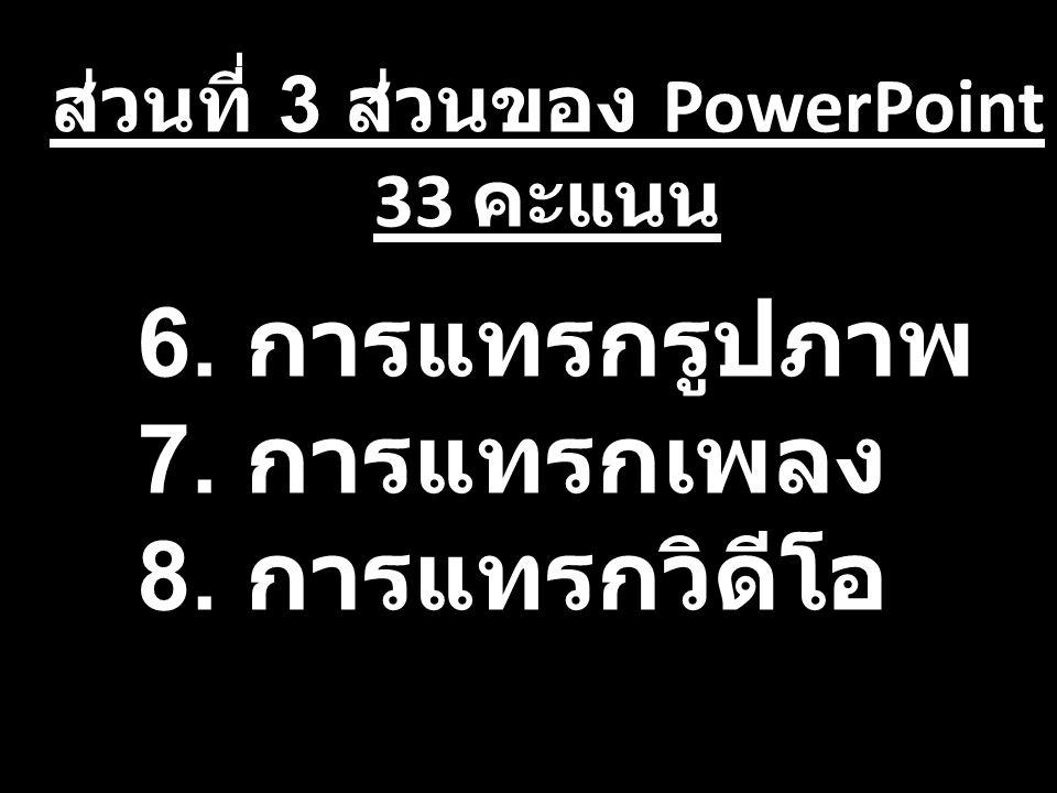 ส่วนที่ 3 ส่วนของ PowerPoint 33 คะแนน 6. การแทรกรูปภาพ 7. การแทรกเพลง 8. การแทรกวิดีโอ