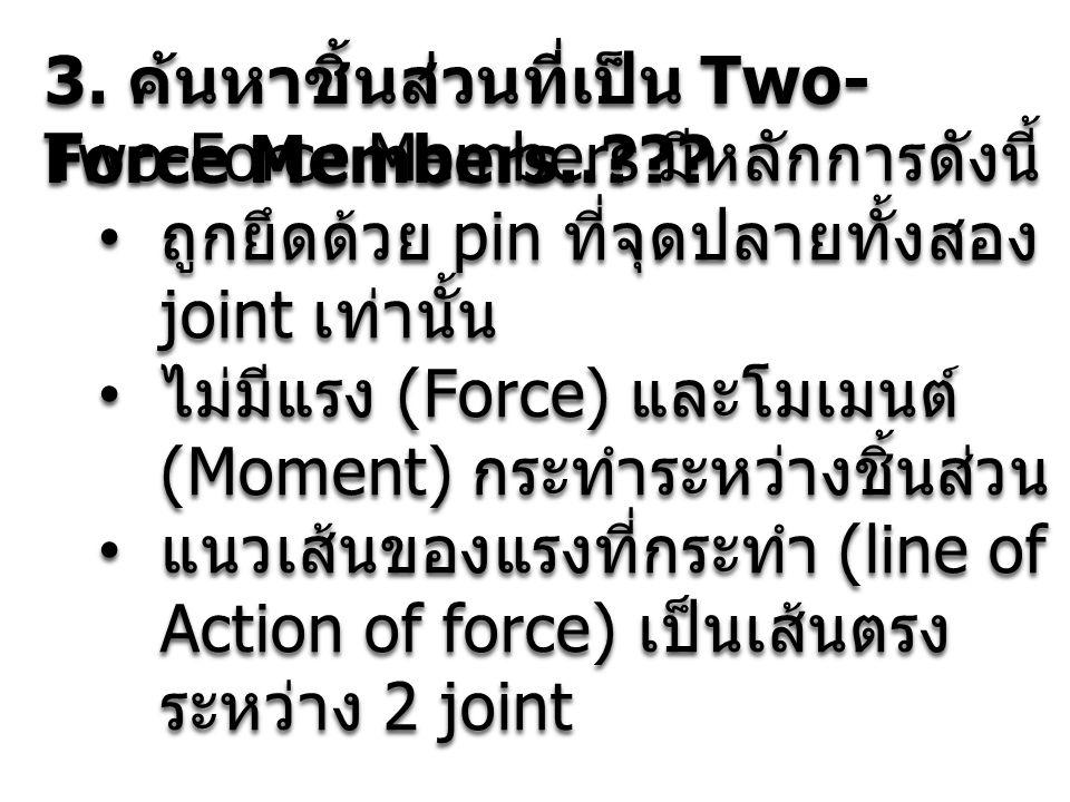 3. ค้นหาชิ้นส่วนที่เป็น Two- Force Members..??? Two-Force Members มีหลักการดังนี้ ถูกยึดด้วย pin ที่จุดปลายทั้งสอง joint เท่านั้น ถูกยึดด้วย pin ที่จุ